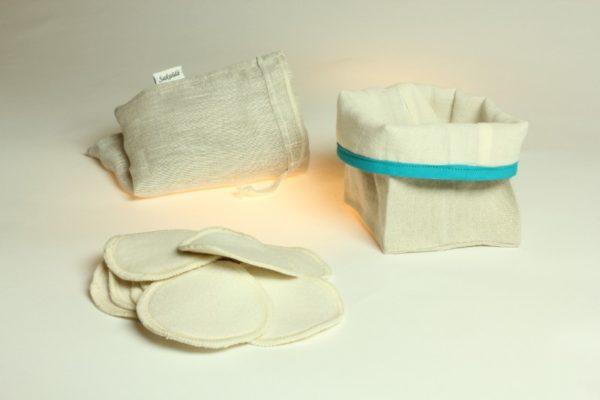 Ensemble de démaquillage réutilisable en lin français et coton biologique bleu
