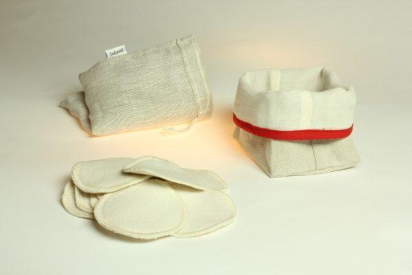 Ensemble de démaquillage réutilisable en lin français et coton biologique rouge