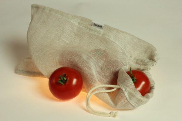 sac à vrac réutilisable en voile de lin biologique